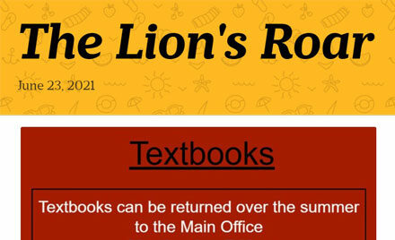 The Lion's Roar Chelmsford High School newsletter